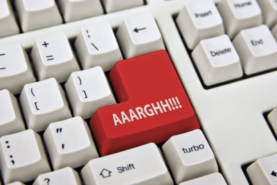 Computer Keyboard with the word Aaarghh! on one key
