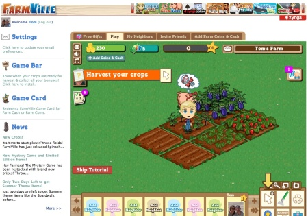 Screenshot of Farmville social media game