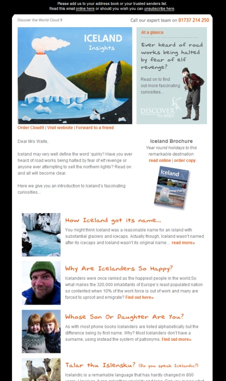 JPEG of Iceland's Discover the World e-newsletter
