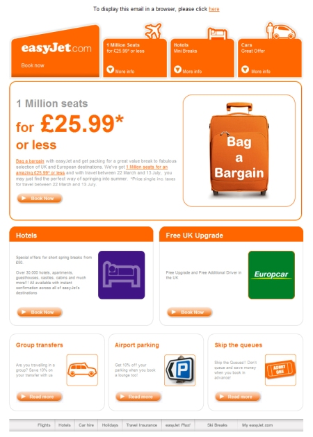 easyJet newsletter design